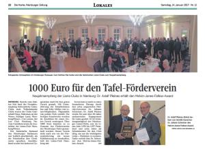 1000 Euro für den tafel-Förderverein