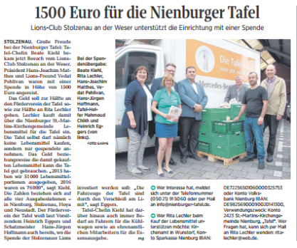 1500 Euro für die Nienburger Tafel©DIE HARKE