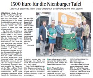 1500 Euro für die Nienburger Tafel