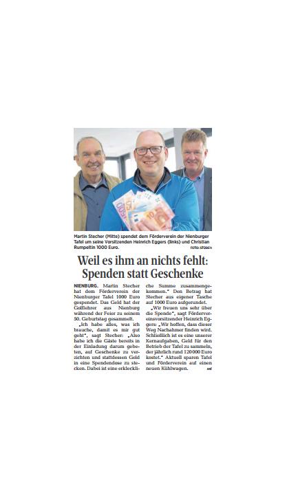 Martin Stecher spendet 1000 Euro©DIE HARKE