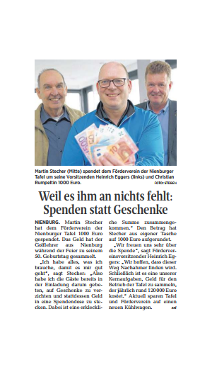 Martin Stecher spendet 1000 Euro